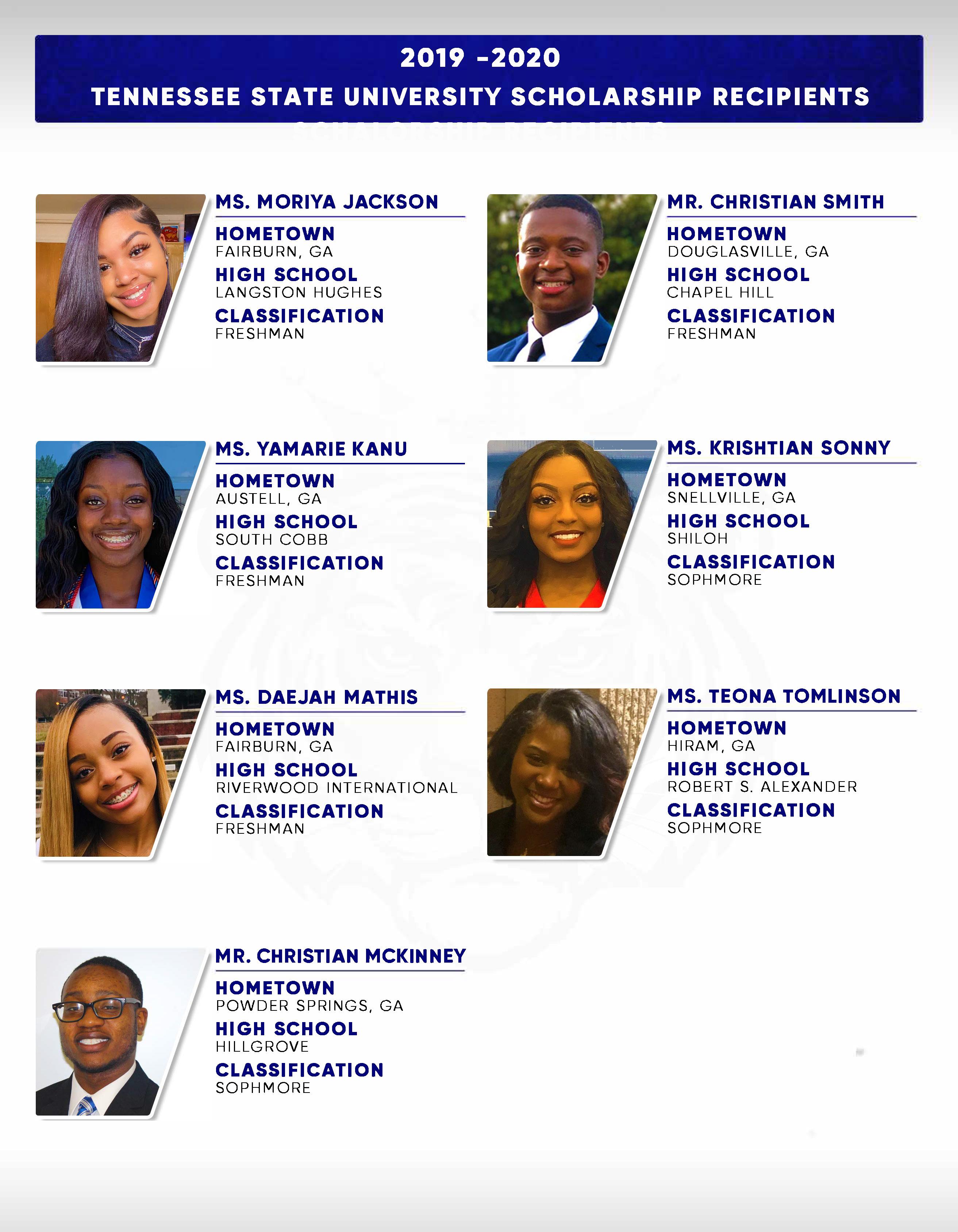 TSU Scholarship Recipients 2019 2020